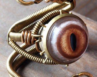 Steampunk Robot Ring - Prototype - Adjustable Size 9 to 13 US - Brass Copper with taxidermy glass eye and clock parts - RELIC