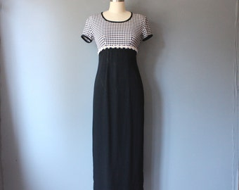 vintage 90s dress / checkered maxi dress / daisy empire waist dress / sz 3/4