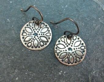 Ethnic Disc Earrings in Bronze - Botanical Earrings - Folk Style Everyday Earrings - Bronze Gypsy Earrings