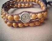 Clay Ohm and Nangka Wood Hemp Double Wrap Bracelet - Natural Zen