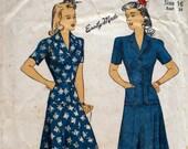 Vintage 1940s Wartime Dress Pattern Du Barry 5577 Two Piece Dress WWII Bust 34
