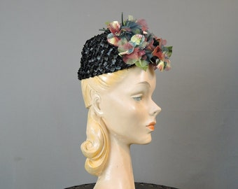 60s Floral Straw Hat, Black with Teal and Burgundy Flowers, 21 inch head, mesh top