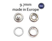 25 sets White 9.7mm Open Snap Fasteners . european made 10mm prong snaps .#700235