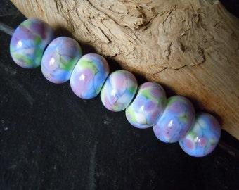 Spring Watercolor Pastels Glass Bead Set.  Handmade Lampwork. Jewelry Supply.  LWS-75