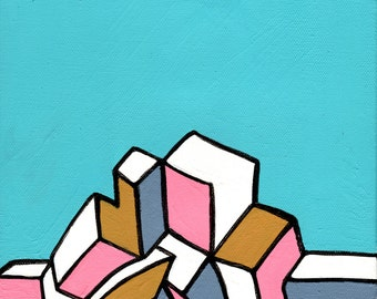 Abstract hypercubist graffiti acrylic on canvas (Hypercubist Abstract #1)