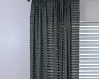Gray Ruffle Curtain Panel - 84 Inch Curtain - 96 Inch Curtain - Grey Ruffle Curtain - Sheer Curtain - Nursery Curtains - Baby Curtains