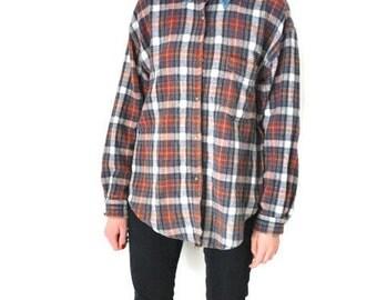 90s grunge flannel shirt unisex denim collar + red plaid button up oxford shirt medium