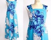 Vintage 70s Mei Jan of Hawaii Dress   Maxi Halter Dress   Barkcloth Hawaiian Dress   XS