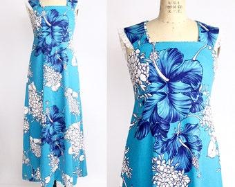 Vintage 70s Mei Jan of Hawaii Dress | Maxi Halter Dress | Barkcloth Hawaiian Dress | XS
