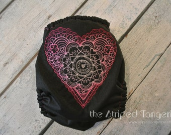 Sweetheart Doodle on Black- Embroidered OS All in Two Cloth Diaper- AI2 FREE SHIPPING
