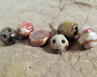 Handmade wood fired beads Handmade ceramic beads Beads for Jewelry making