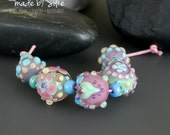 Handmade lampwork round beads  | Minis |  Softies    |    set   |     artisan glass     |     made by Silke Buechler