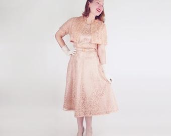50s Peach Lace & Taffeta Belted Dress + Bolero Jacket L XL