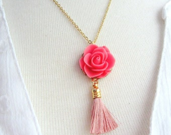 Pink Tassel Necklace, Bohemian Peach Cabochon Flower Necklace, Gold Necklace, Vintage Style Necklace, Gardendiva