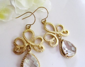 Clear Crystal Earrings, Gold Tiara Connector, Chandelier Earrings, Clear Glass, Bidesmaid Earrings, Wedding Jewelry