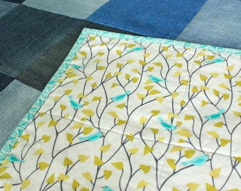 SALE Twin Quilt from Recycled Denim - Bird Print Backing - Turquoise, White, Yellow