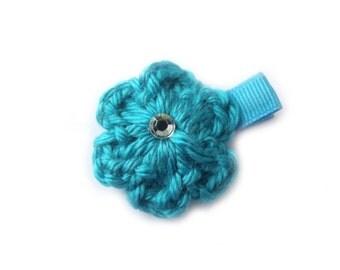 Turquoise Blue Hair Clip Turquoise Hair Clip Crochet Flower Hair Clip Baby Girl Hair Clip Baby Girl Clip Baby Hair Clip Spring Hair Clip