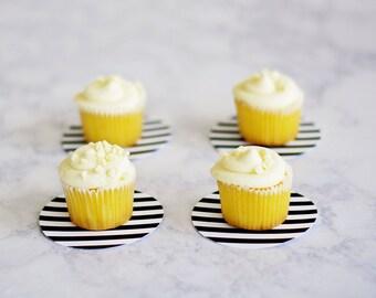 Dessert Coasters -Black and White Stripe