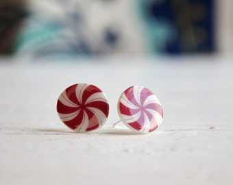 Peppermint earrings, cute christmas studs