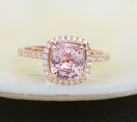 Rose Gold Engagement ring Peach Sapphire ring 2 56ct cushion