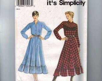 1990s Vintage Sewing Pattern Simplicity 188 Misses Western Style Dress Fringed Yoke Size 8 10 12 14 16 18 Bust 31 32 34 36 38 40 UNCUT