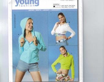 Misses Sewing Pattern Burda 8042 Misses Juniors Easy Hooded Hoodie Jacket Cropped Size 6 8 10 12 14 16 18 UNCUT