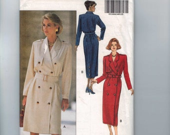 Misses Sewing Pattern Butterick 6468 Misses Coat Dress Double Breasted Size 12 14 16 Bust 33 34 36 38 UNCUT  99