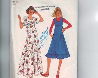 1970s Vintage Sewing Pattern Simplicity 8026 Misses High Waisted Maxi Dress Jumper Size 12 Bust 32 33 1977  99