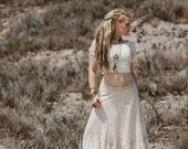PRIMROSE LACE SKIRT - Wedding Bride Bohemian Hippie Boho Gypsy Steam punk Steampunk Lagenlook Mori Vintage Plus size - Off white Cream