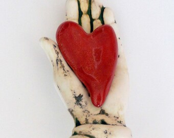 Ceramic Wall Sculpture MY Heart is in your Hand My Valentine