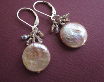 satin pink organic coin pearl earrings with crystal fringe