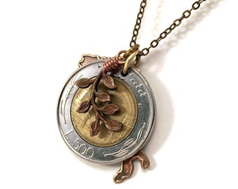 Italian lire coin necklace with map of Italy cutout charm and olive branch