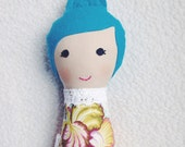Ready to Ship - Mini Stuffed Dollie - Small Fabric Doll - Cloth Stuffed Doll -  Blue Haired Girl