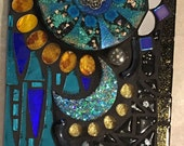Stained Glass and Resin Mosaic Wall Hanging Glitter Blue Green Gold