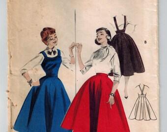 Vintage 50's Misses Full Skirt or Jumper Size 14 Bust 32 Full Ten Gore Skirt Raised Waist Band Suspender Straps Outswept Jumper w Full Skirt
