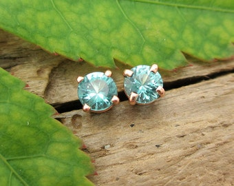 Turquoise Blue Tourmaline Earrings in Gold with Genuine Gems, 4mm