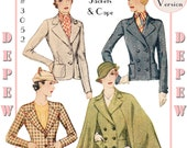 Vintage Sewing Pattern Reproduction Ladies' 1930's Jacket and Cape #3052 - Full Sized PAPER VERSION