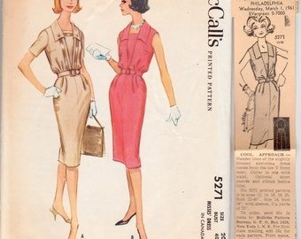 """Vintage Sewing Pattern McCall's 5271 Ladies' Dress 1960's 40"""" Bust - With FREE Pattern Grading E-Book Included"""