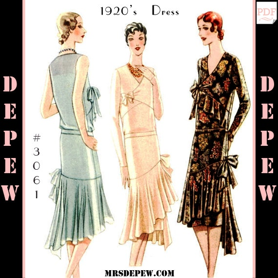 1920s Patterns – Vintage, Reproduction Sewing Patterns 1920s Maggy Rouff Couture Dress #3061 - INSTANT DOWNLOAD $12.50 AT vintagedancer.com