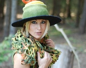 Witch wizard hat  felted from wool orange green black Haloween costume CUSTOM MADE choose your own colors
