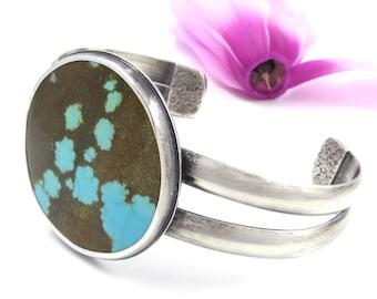 Turquoise Cuff Bracelet - Sterling Silver Turquoise Cuff Bracelet - Natural #8 Mine Turquoise Cuff - Rustic cuff bracelet