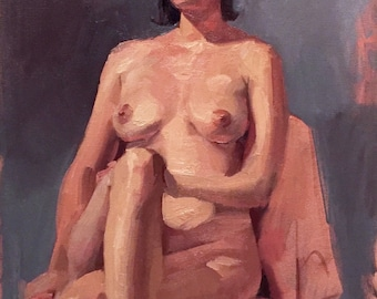 """Art Painting Portrait Nude """"Her Thoughts Elsewhere"""" Original oil by Sarah Sedwick 12x16"""