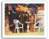 "Bird Bath Lawn Chairs Art ""Spring Valley Shade"" Prints Signed and Numbered"