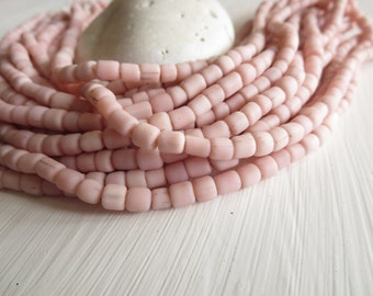 Small pink seed bead glass beads light pink  2 Glass beads organic barrel tube,  New Indo-pacific - 3 to 6mm  / 22 inches strand  - 6A14-17