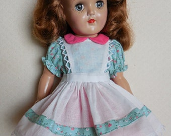 """SALE, REDUCED! - Pinafore Dress for P-90 14"""" Ideal Toni - Dress with Organdy Pinafore Inspired by Original"""