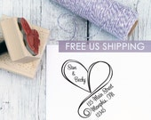 Wedding Return Address Stamp, Free Shipping, Swirly Heart, Custom Address Stamp, Wooden Stamp, Self Inking Stamp, Rubber Stamp