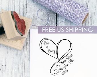 Wedding Return Address Stamp, Free Shipping, Swirly Heart, Custom Address Stamp, Wooden Stamp, Self Inking Stamp, Rubber Stamp