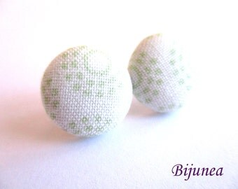 Green earrings - Green mint stud earrings - Green mint posts - Mint studs - Green flower post earrings sf1290