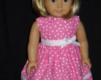 American Girl 18 inch Doll Summer Dress Handmade Pink with Hearts