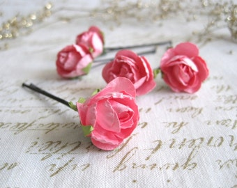 PINK flower bobby pins // petite bridal hair flowers